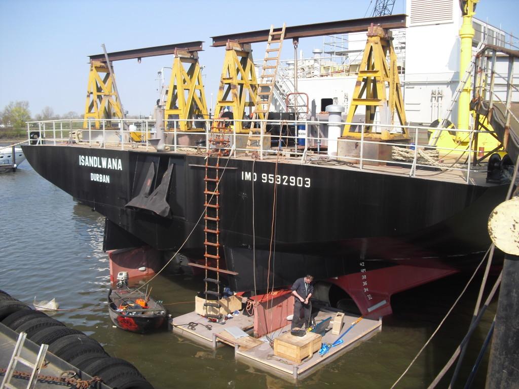 Rudder mounting on vessel